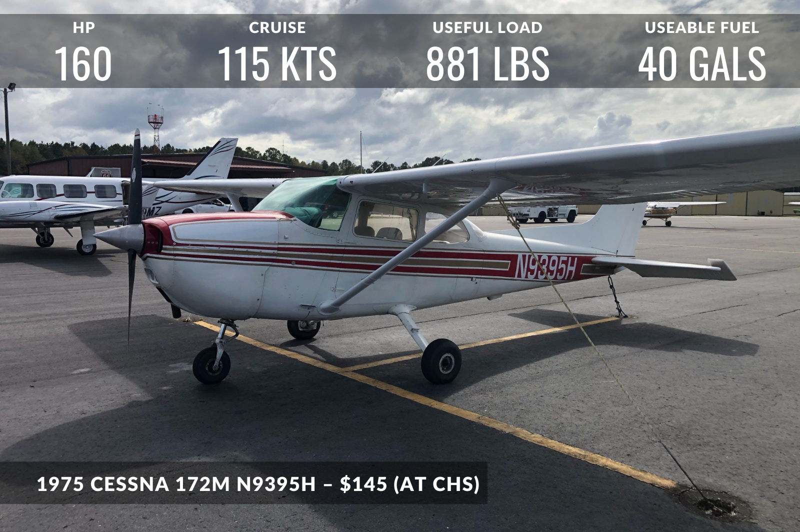 photo of 1975 CESSNA 172M N9395H – $145 (AT CHS)